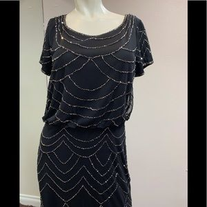 ADRIANNA PAPELL Black Beaded Blouson Gown